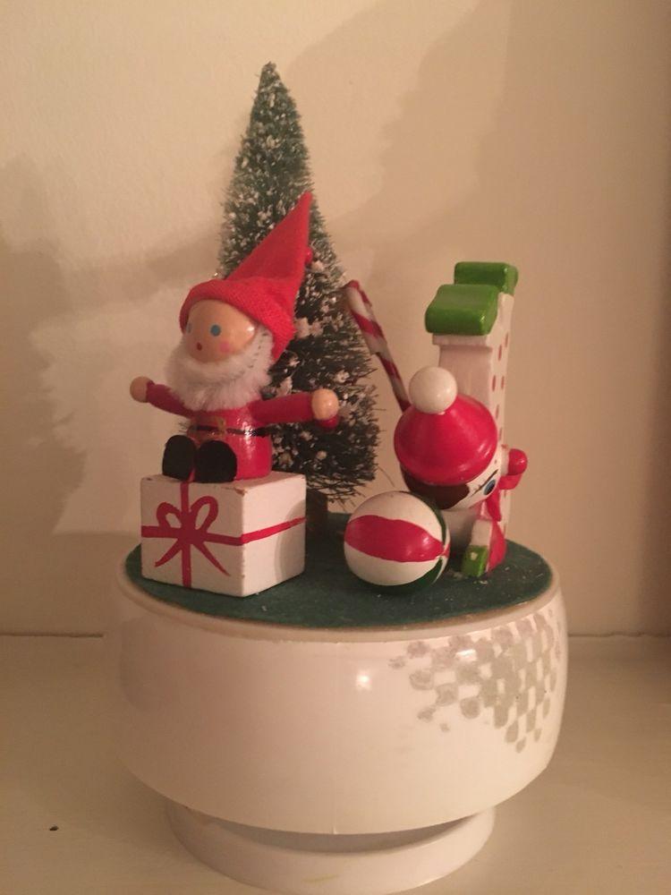 Vintage Christmas Music Box Wooden Miniature Figures Santa Bottle Brush Tree Ebay Christmas Music Box Vintage Christmas Bottle Brush Trees