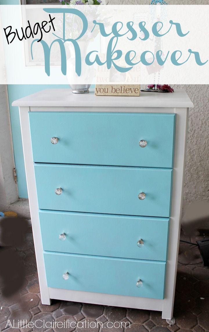 A Budget Dresser Makeover at ALittleClaireification.com #DIY #Furniture #Makeover
