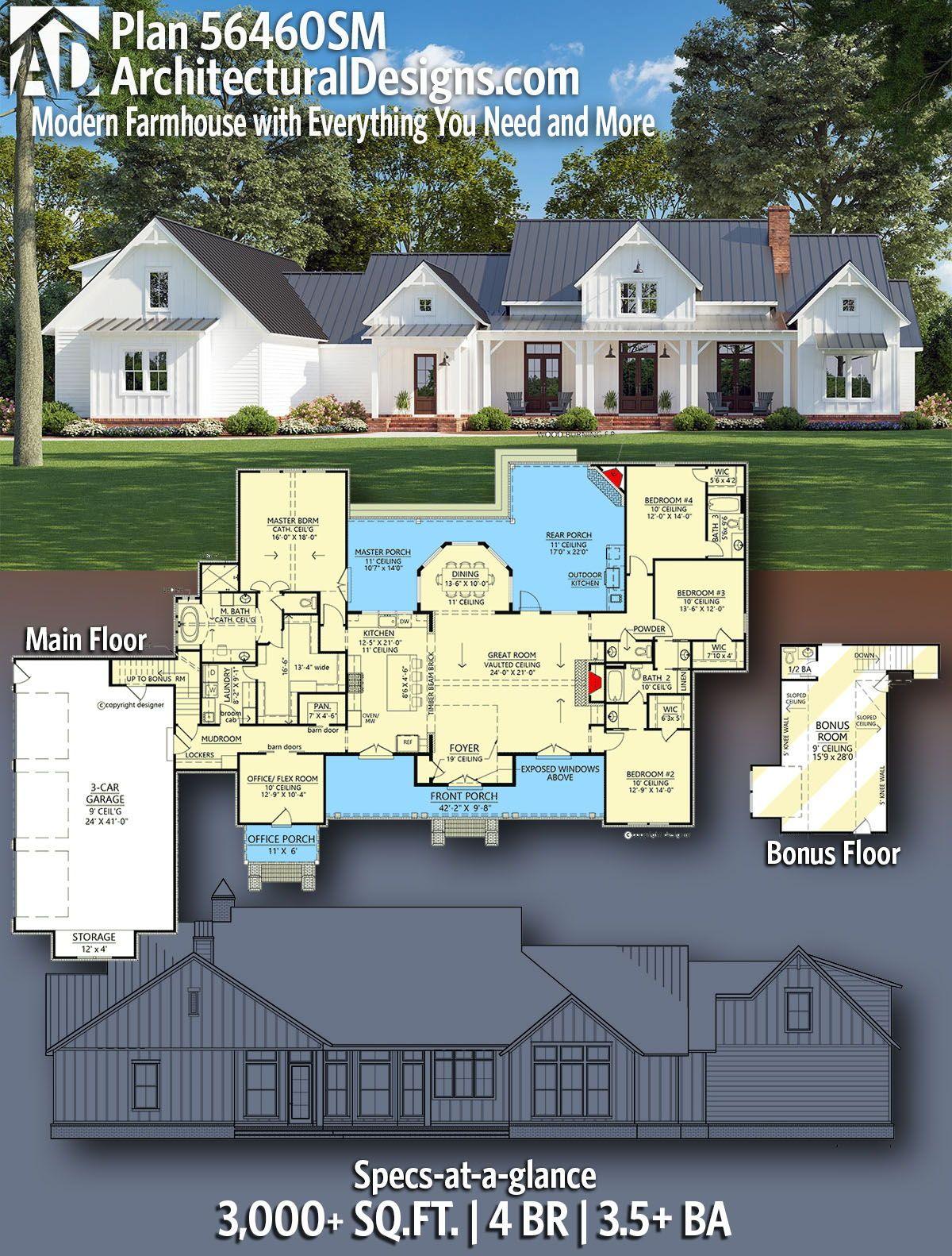 Plan 56460sm Modern Farmhouse With Everything You Need And More In 2020 House Plans Farmhouse Farmhouse Style House Plans New House Plans