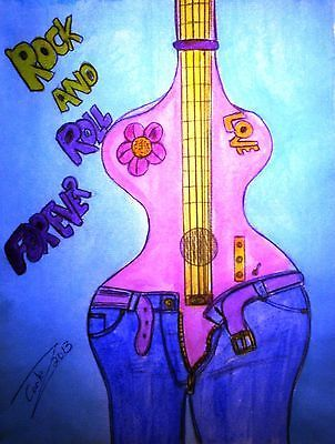 """""""Richard Cortez!"""" Valuable Original Painting """"Rock and Roll Forever"""" 50-80% off"""