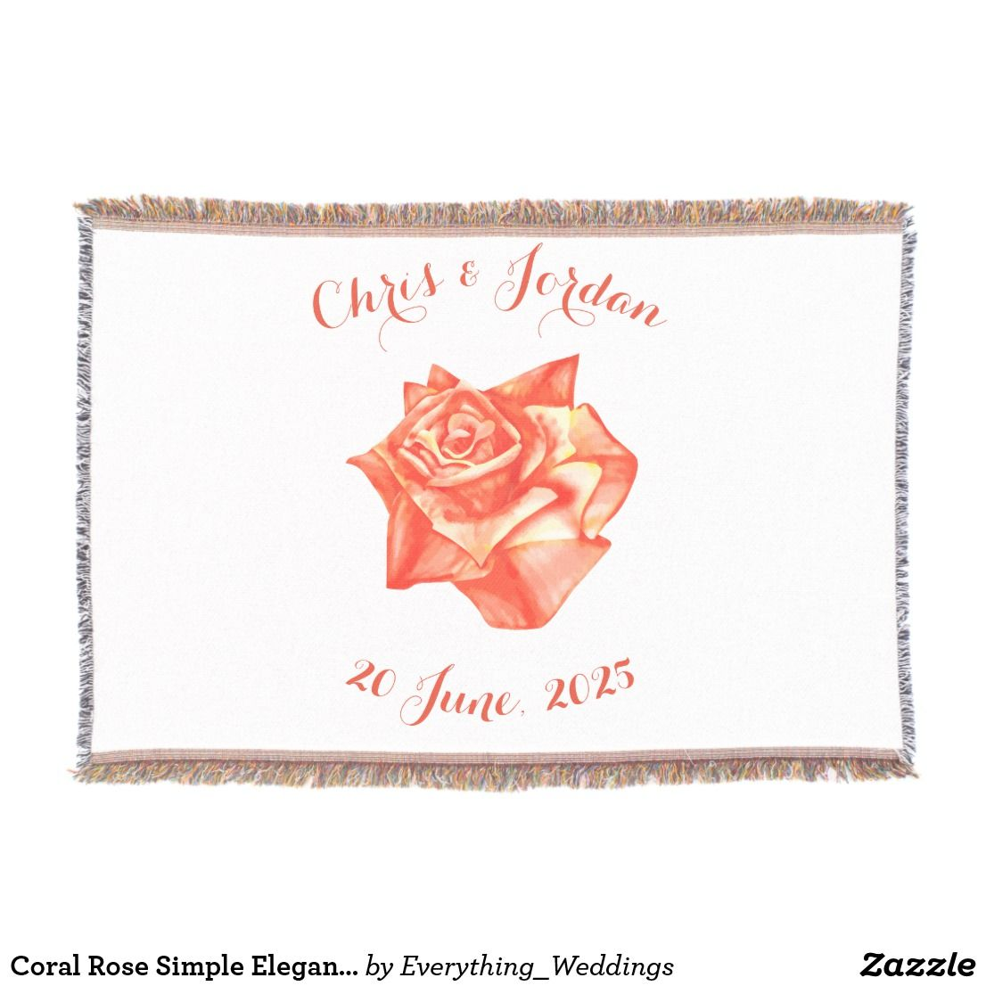 Coral Rose Simple Elegant Wedding Gift for Couple Throw | Elegant ...