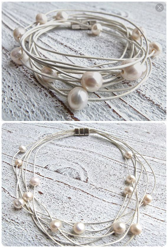Set leather bracelet and necklace with freshwater pearls  white by Charmecharmant on Etsy