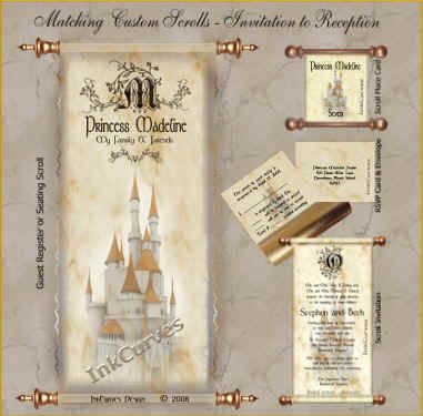 princess madeline guest register scroll invitation and place card - Wedding Scroll Invitations