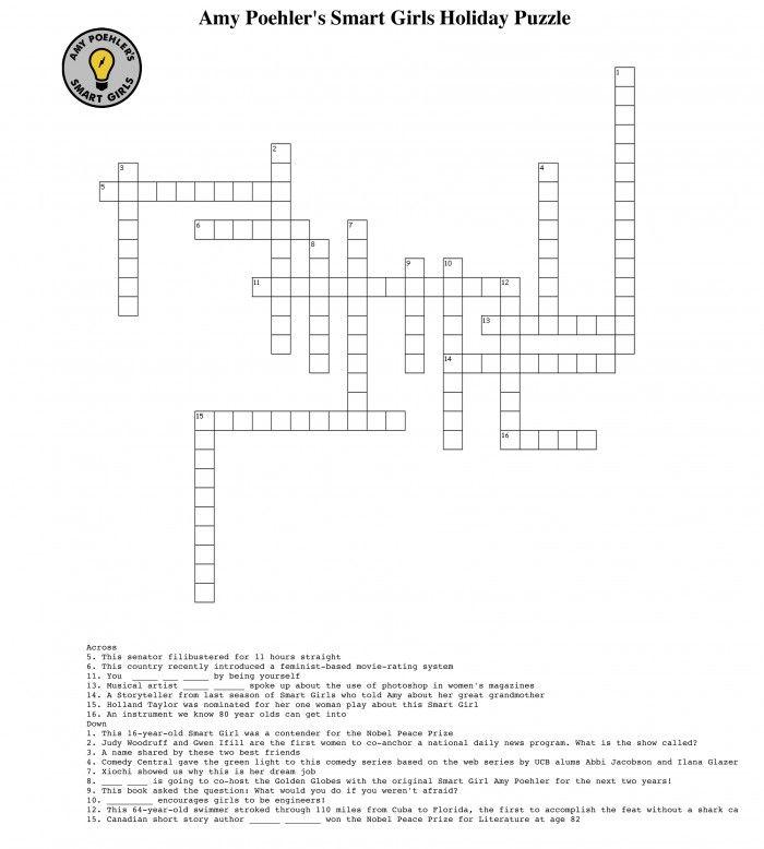 Criss Cross Smart Girl Crossword Puzzle Smart Girls Amy Poehler Smart Girls Holiday Puzzle
