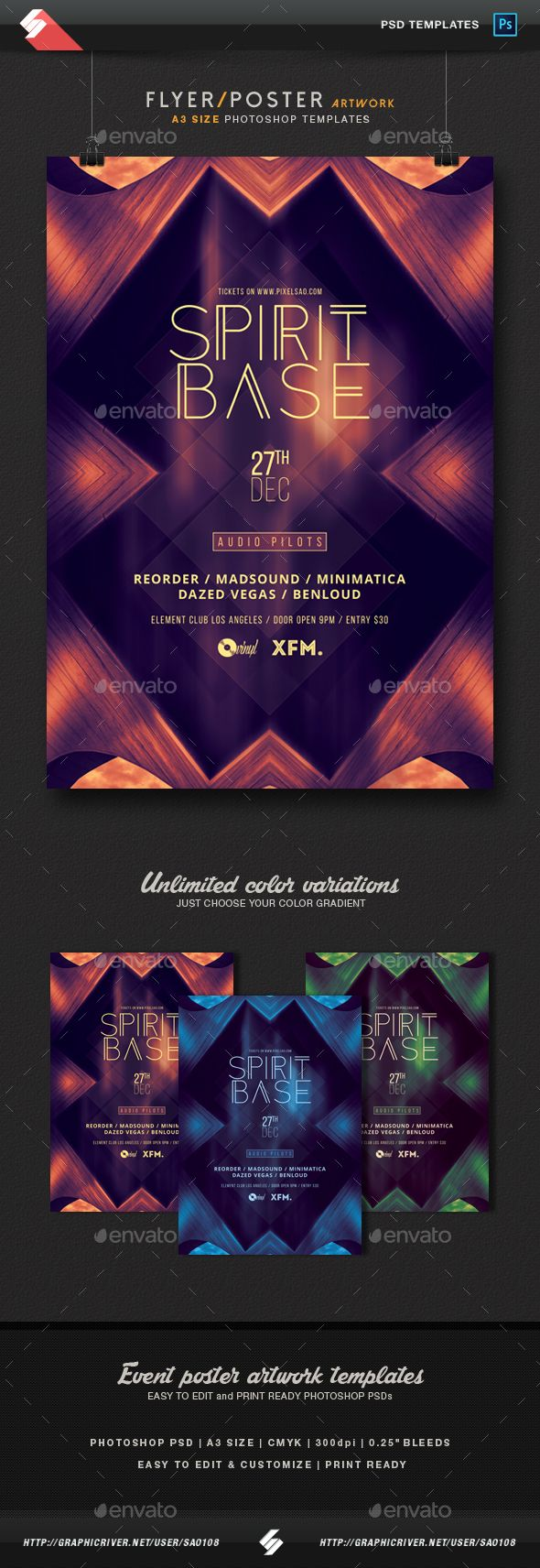 Spirit Base - Trance Party Flyer / Poster Template A3 PSD
