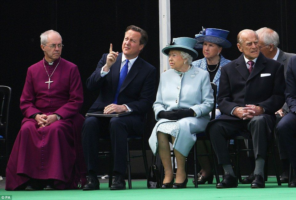 David Cameron makes conversation with the Queen ahead of the formal ceremony at Runnymede ...