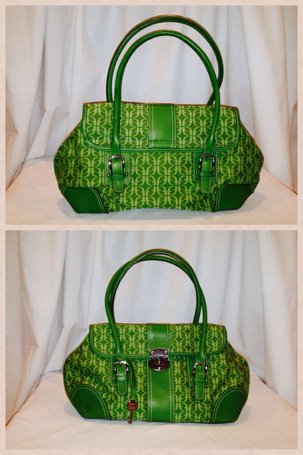 """Fossil Logo bag Loden Green Leather trim with silver hardware 12""""long X 15"""" high. Starting bid $20"""