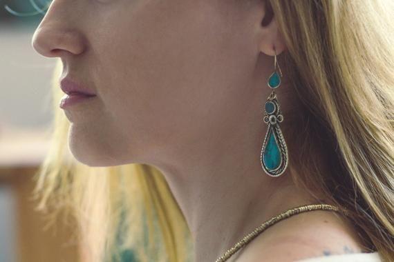 Lotus flower boho earrings lapis lazuli boho earrings bohemian earrings