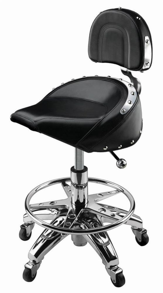 garage chairs rolling blue upholstered dining chair chrome bar stool leather cushion seat pneumatic biker shop gudcraft