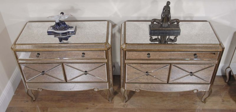 Photo Of Pair Funky Art Deco Mirrored Bedside Chest Drawers Tables