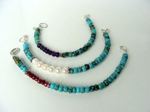 Gemstone bracelet turquoise ruby amethyst pearl door LetLooseJewelry, $57.00