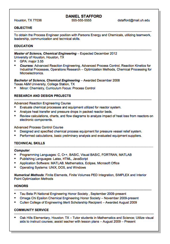Parsons Energy And Chemical Engineer Resume Sample Free Resume Sample Engineering Resume Chemical Engineering Resume Examples