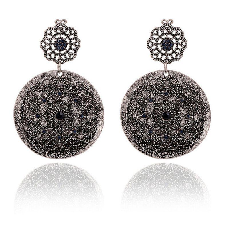 new fashion 2017 big round vintage drop earrings for women black color rhinestone earrings fine jewelry big earrings good gift