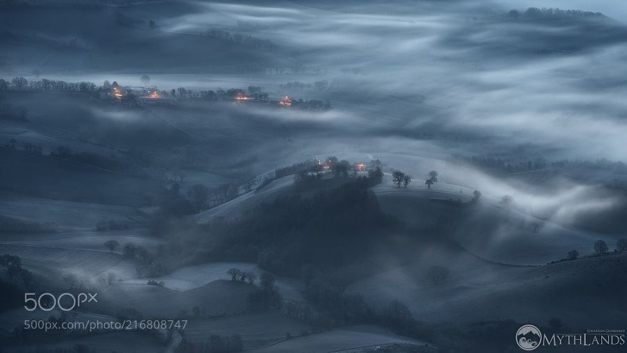Winter hills - The valley was covered with a thin layer of ice the hills have taken on this particular little color before sunrise -Jonathan Giovannini