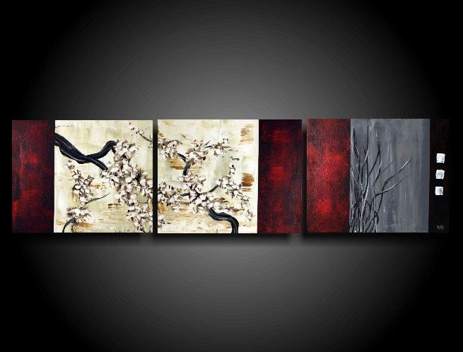 Original Large Abstract Painting Modern Art Asian Painting Chinese Tree Painting Triptych The Raw Can Modern Abstract Painting Large Abstract Painting Painting