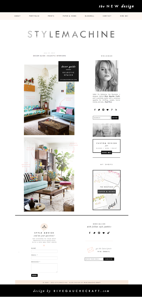 Blog Design Stylemachine By Katherine Elliott Via Behance Blog Layout Design Blog Design Inspiration Blog Design