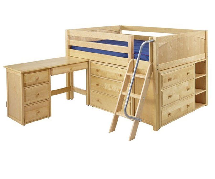 Maxtrix Xl Low Loft Bed W Dressers Desk Full Size Natural In 2019