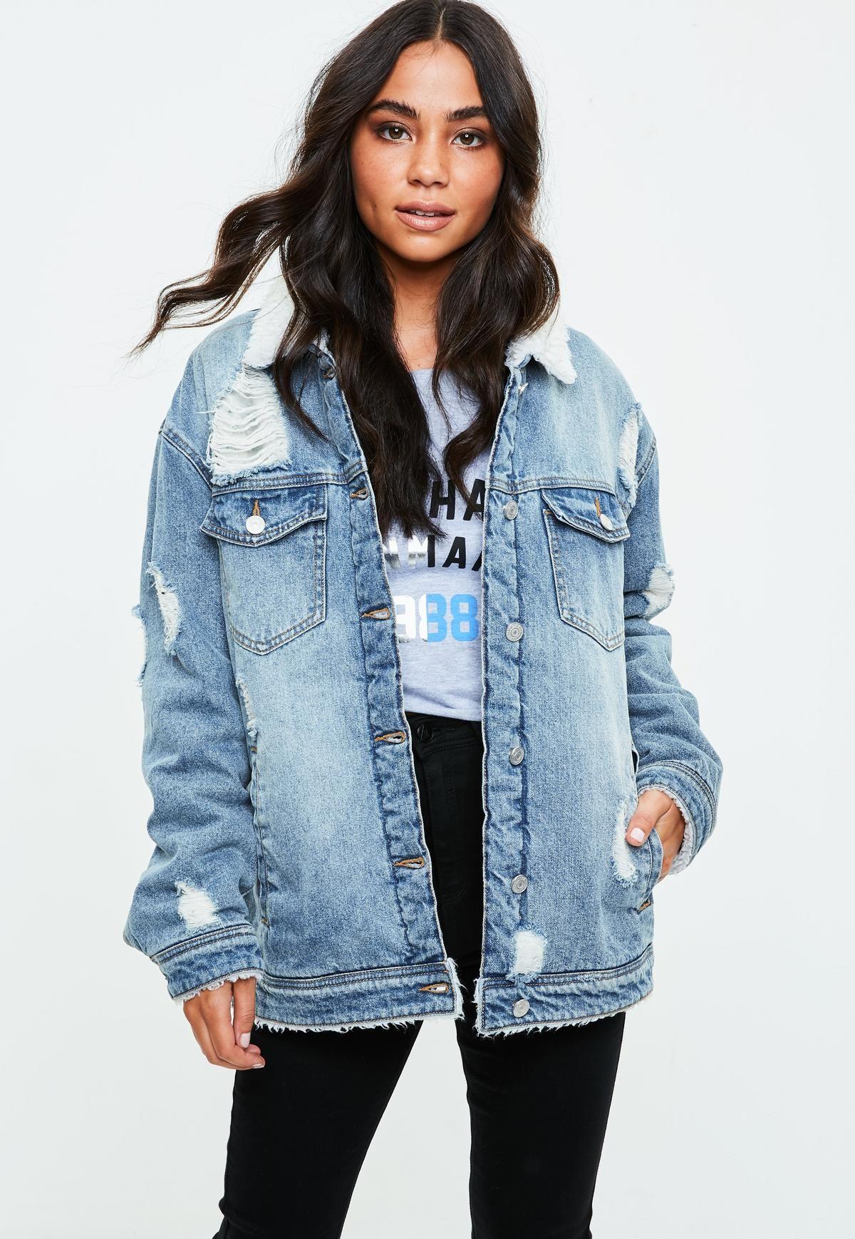 8262544d5d1e Veste en jean bleue doublure moumoute