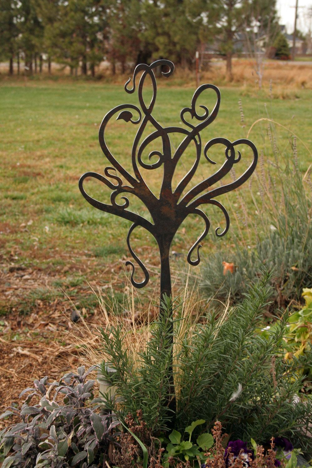 Garden Stake-Whimiscal Tree Design cut from Heavy Steel. $50.00, via ...