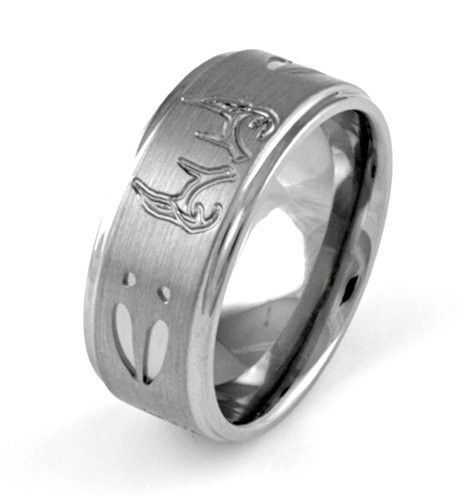 Men s Titanium and Deer Antlers Comfort Fit Wedding Band   Ring  2a257d582