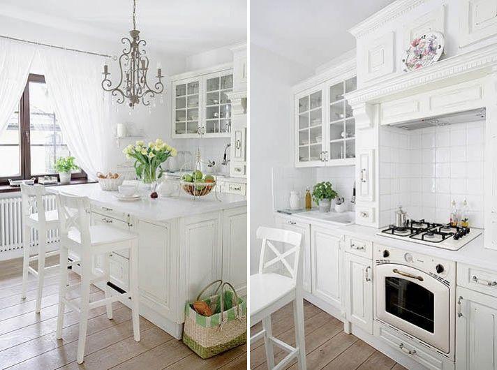 Cucina tutta bianca, anche il piano! ma pavimento color legno | Home ...