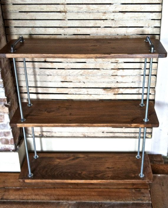 Charmant Multi Level Adjustable Threaded Rod Shelf, Reclaimed Wood Floor Standing  Shelf, Wood And Steel, Industrial Farmhouse, Reclaimed Furniture