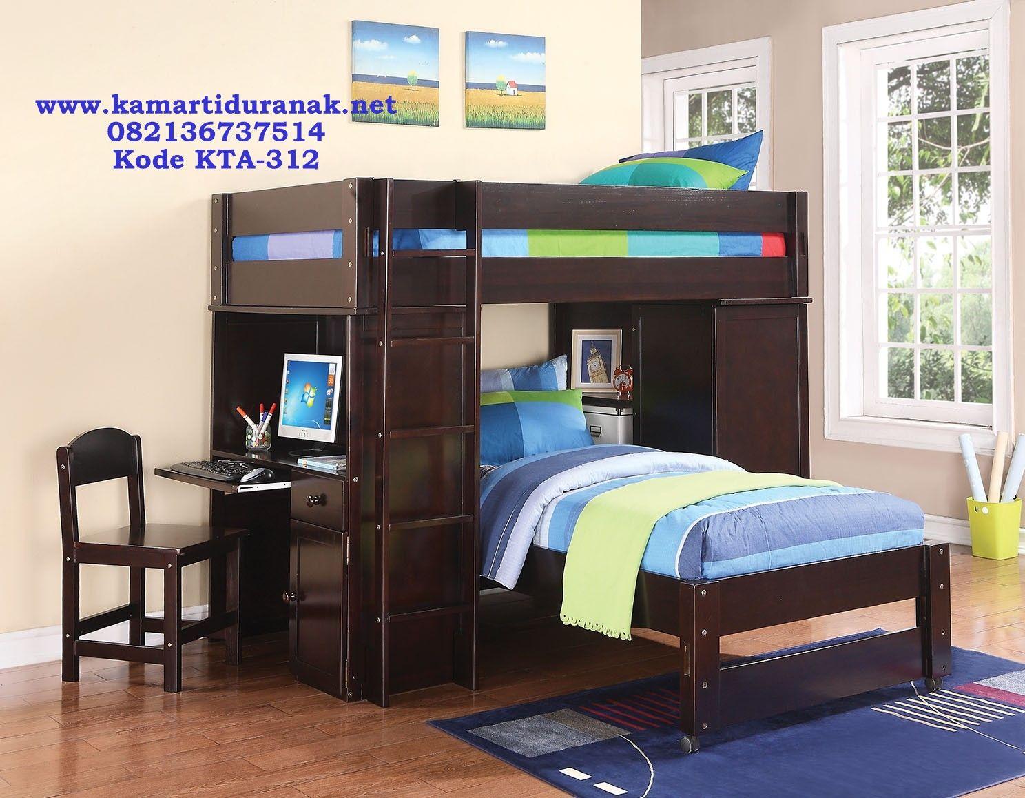 Bunk bed dengan meja belajar minimalis ranjang tingkat