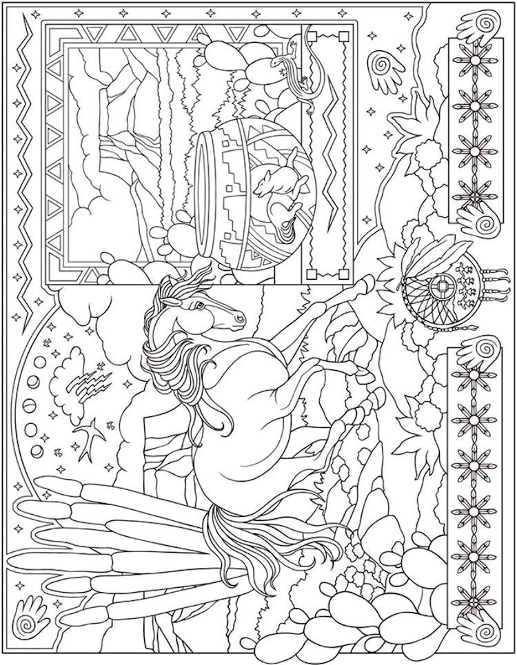 Dover ESCAPES Collage Art Coloring Page 4   Adult Coloring Pages ...