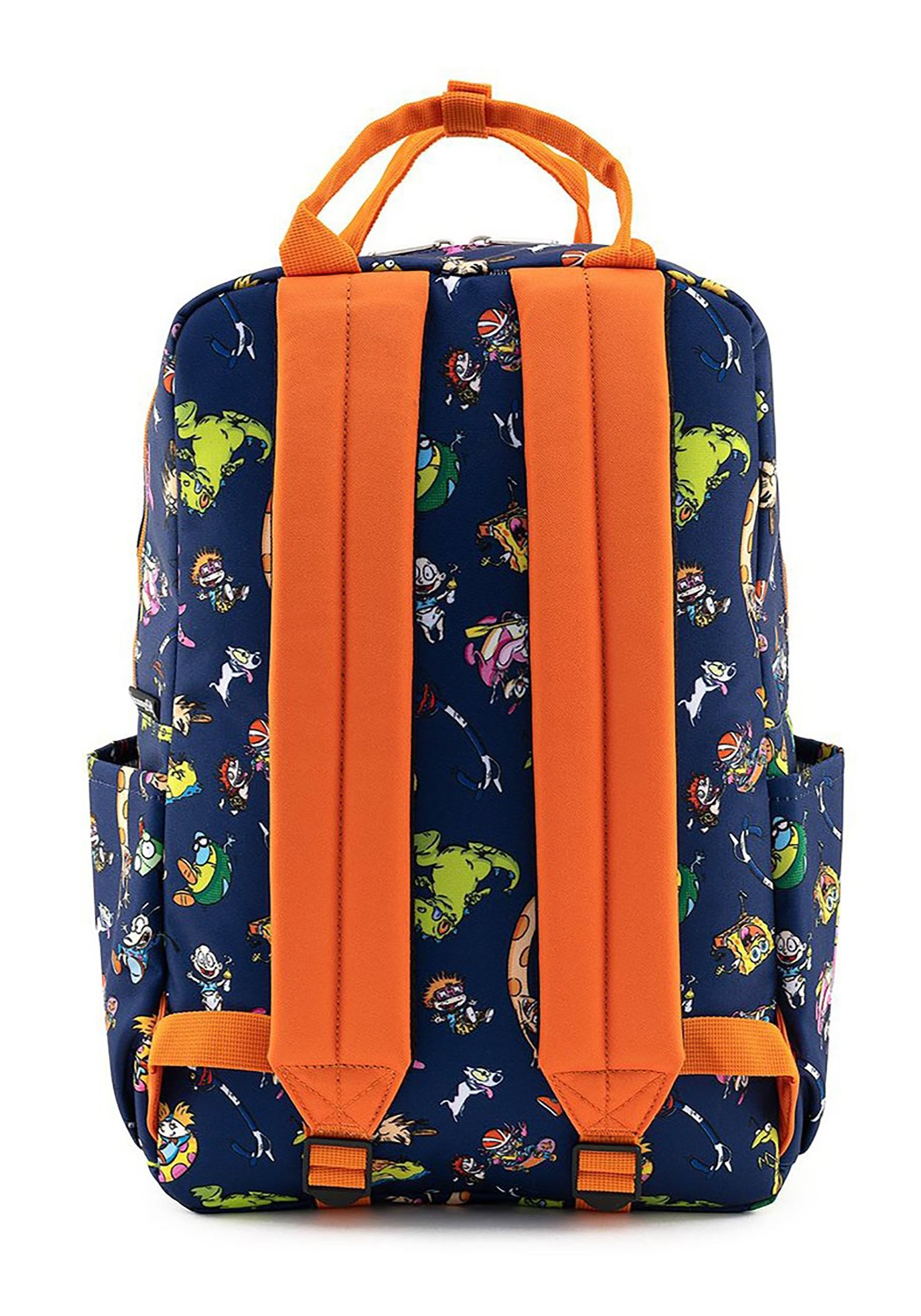 Cartoon Essentials Rugrats, Rocko, CatDog. Monsters, SpongeBob, Rocket Power. Show your love for all your favorite Nickelodeon classics with this Loungefly Nickelodeon Retro Character Nylon Backpack! The sturdy canvas body features an all-over print of Nicktoons from Hey Arnold! to Invader Zim,andis sure to show the world your passion for quality 90s and early 00s animation while carrying all your essentials!