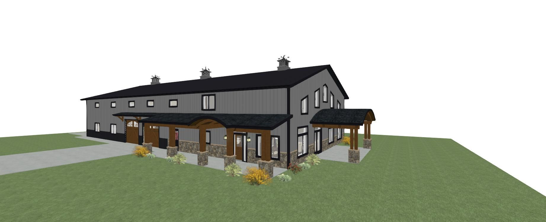 3 D Exterior Of Shouse With Dark Grey Siding Dark Grey Roof And Rounded Arches Pole Barn House Plans Barn House Plans Shed Homes