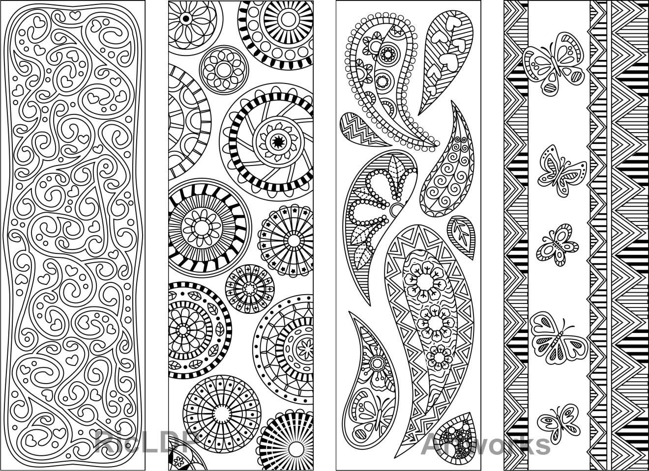 Set of 8 Coloring Bookmarks with Abstract Patterns