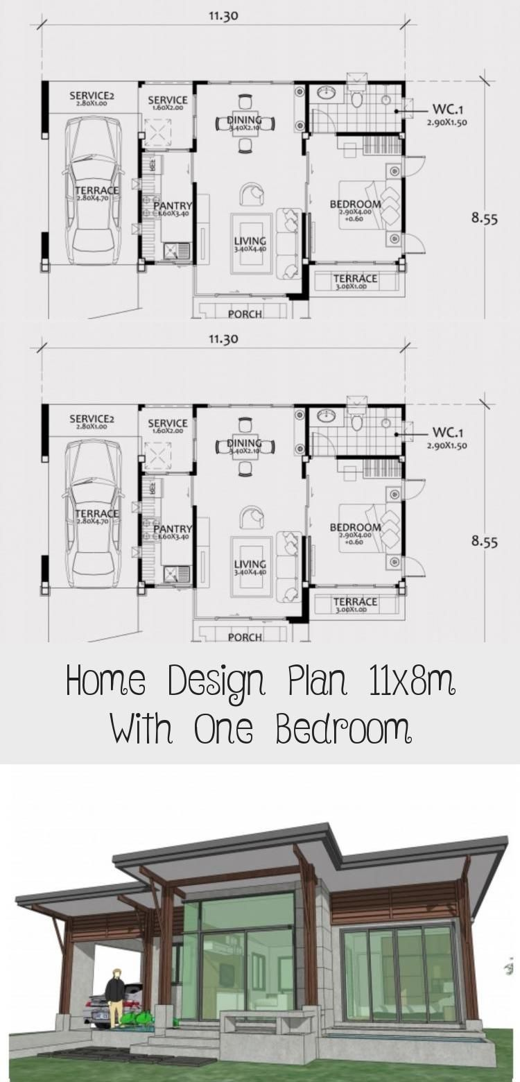 Home Design Plan 11x8m With One Bedroom Home Design With Plansearch Smallhouseplansunder1000sqft Smallhous In 2020 Home Design Plan House Design Garage House Plans
