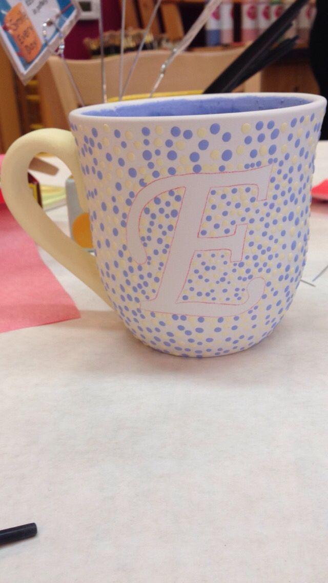 Painted At Color Me Mine Initial Mug Ceramics Color Me Mine Color Me Mine Paint Your Own Pottery Mug Crafts