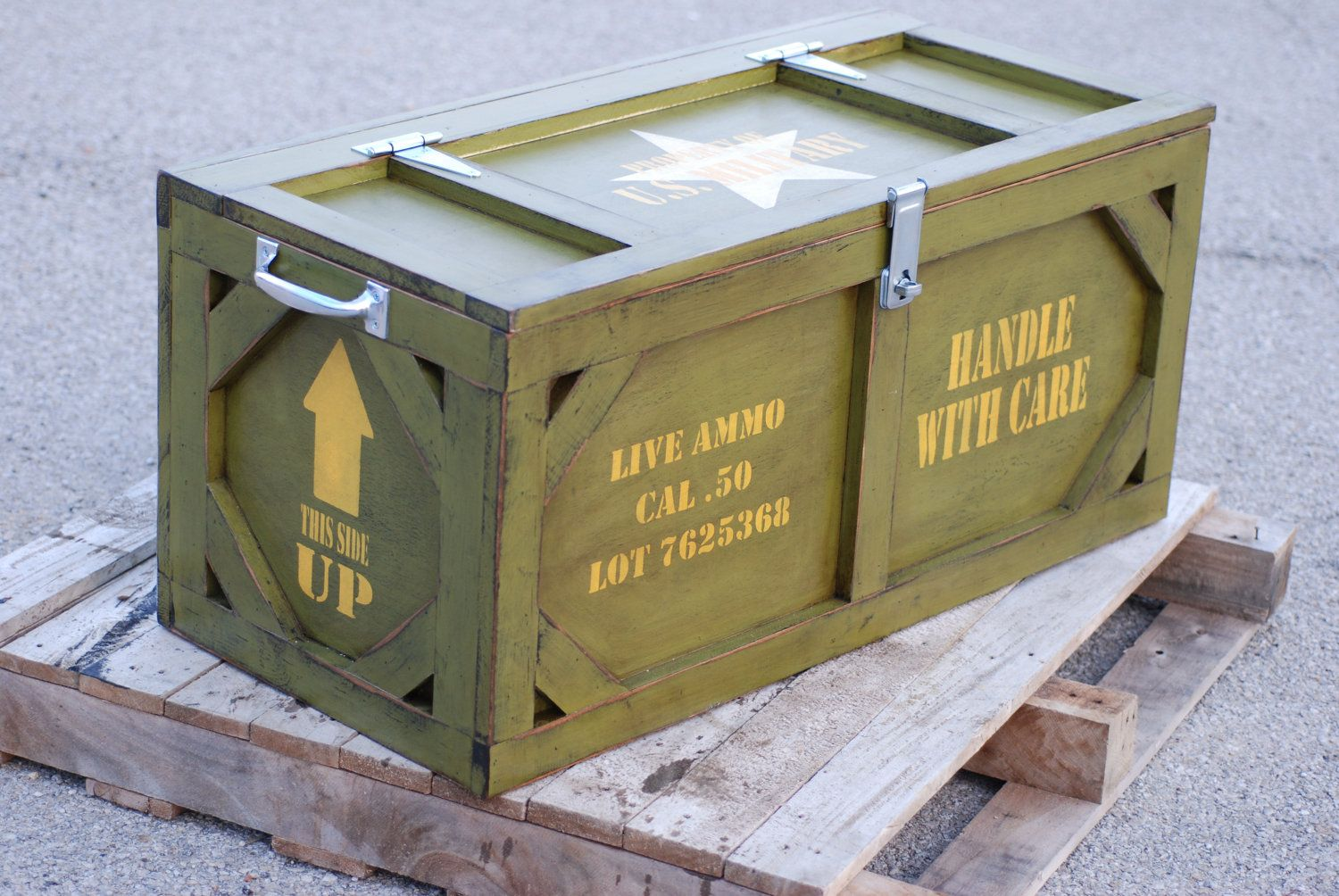 Toy box crate furniture military ammo box chests trunks for Where to find old wooden crates