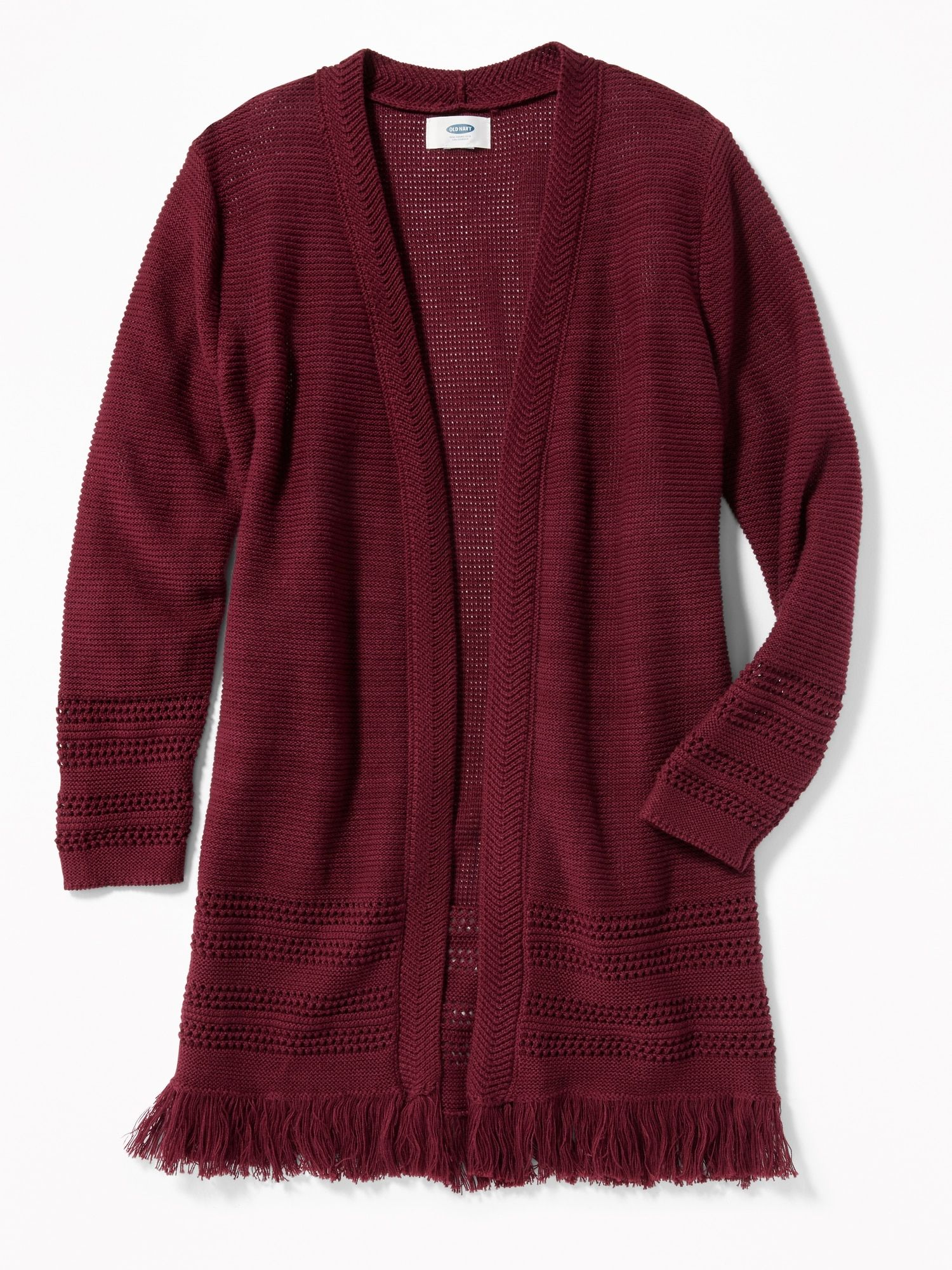 Relaxed Open Front Fringed Hem Sweater for Girls | Old Navy