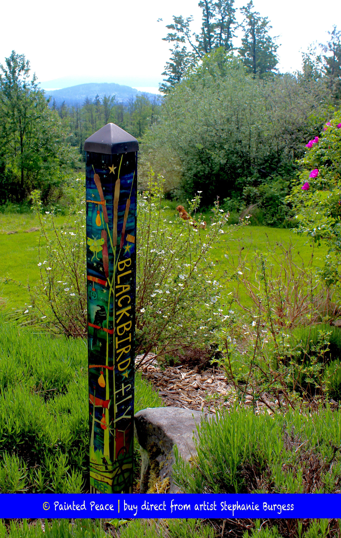 Blackbird Art Pole 4 Foot Art Pole Garden Art Garden Poles