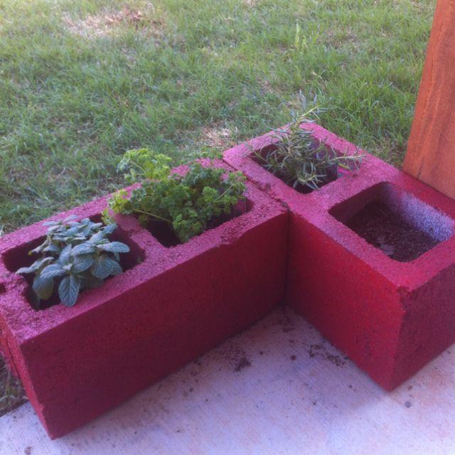 Spray Painted Cinder Blocks For My Herb Garden Cinder Block Garden Container Gardening Vertical Garden
