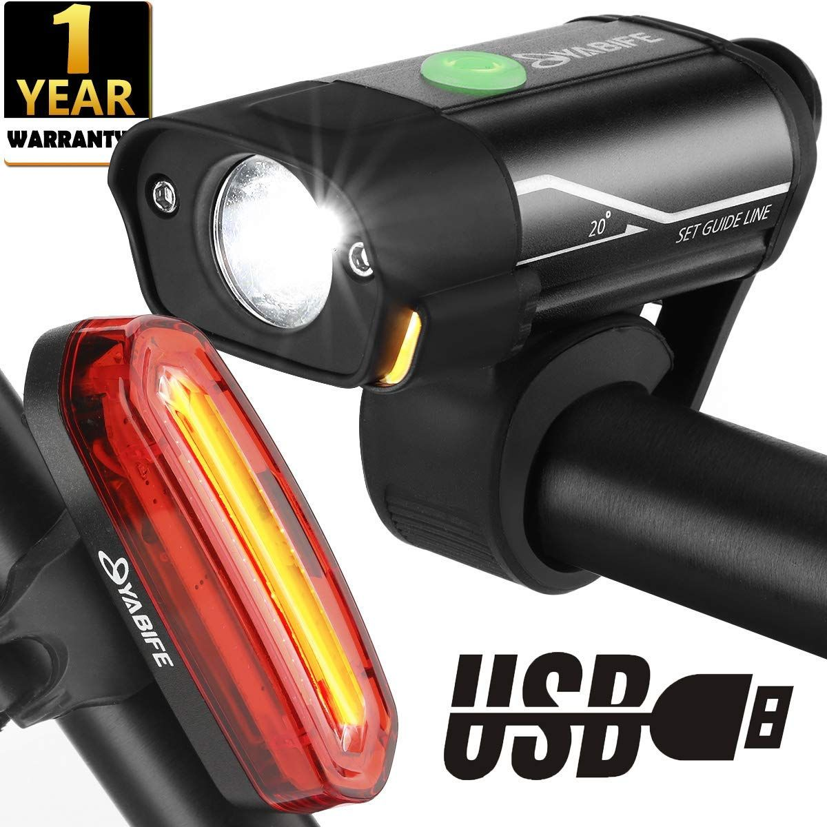 Waterproof Bike Light Bicycle Lamp Headlight Clip-on Taillight Accessories