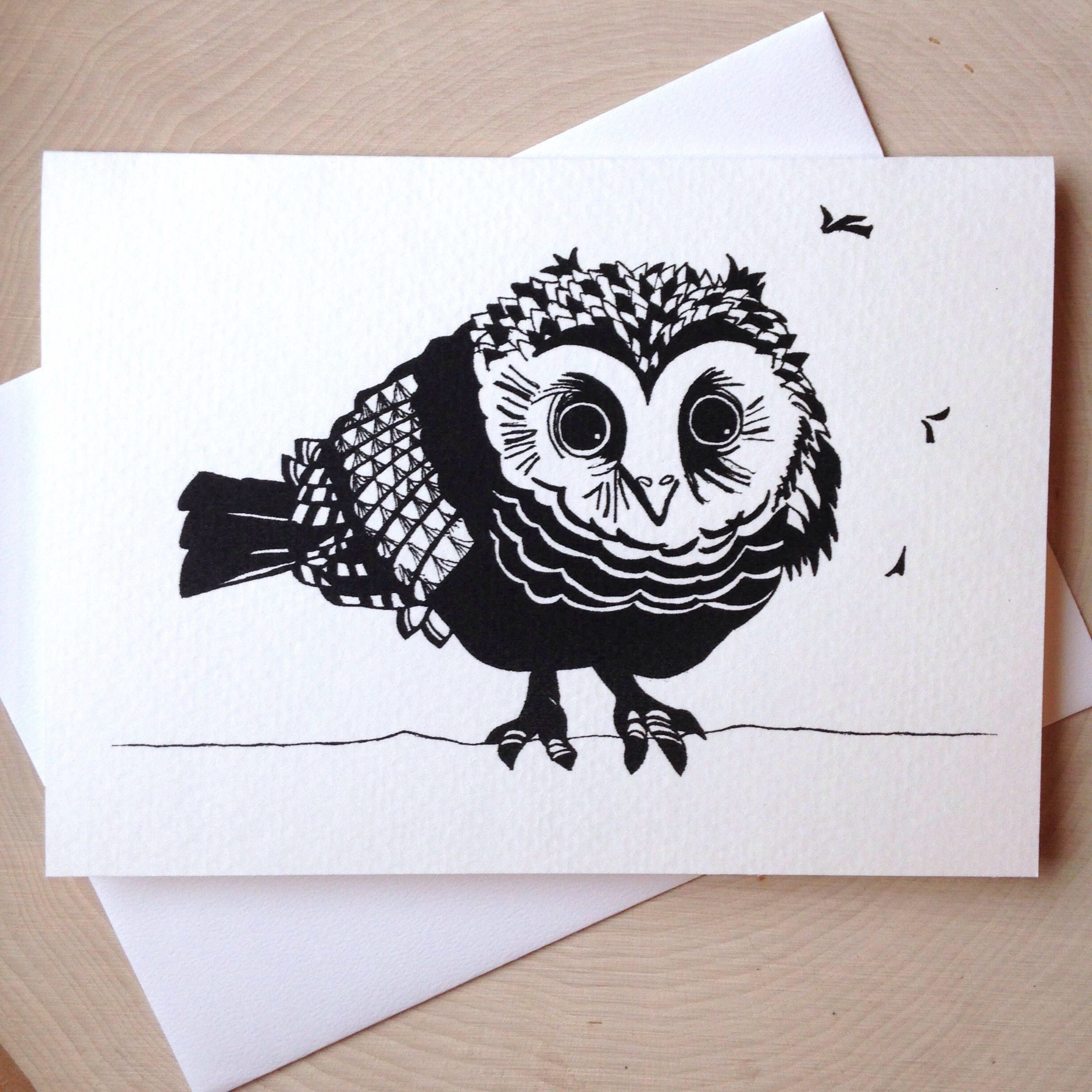 Owl card x black and white illustrated blank card baby owl