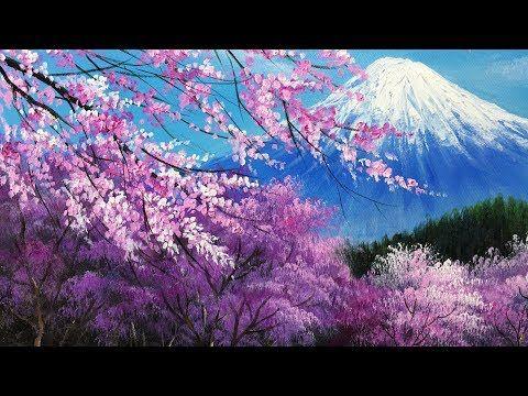 Youtube Cherry Blossom Painting Acrylic Cherry Blossom Painting Landscape Paintings Acrylic