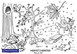 kleurplaten herfst en winter