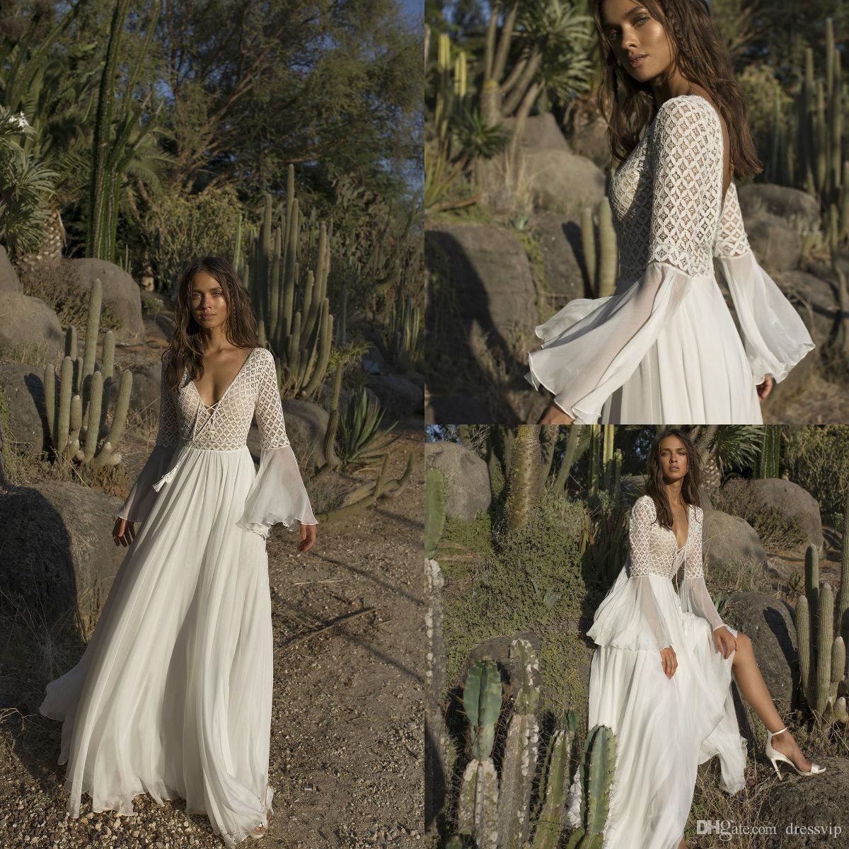 asaf dadush boho wedding dresses deep v neck long sleeve tulle