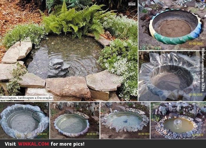 estanque con llanta reciclada