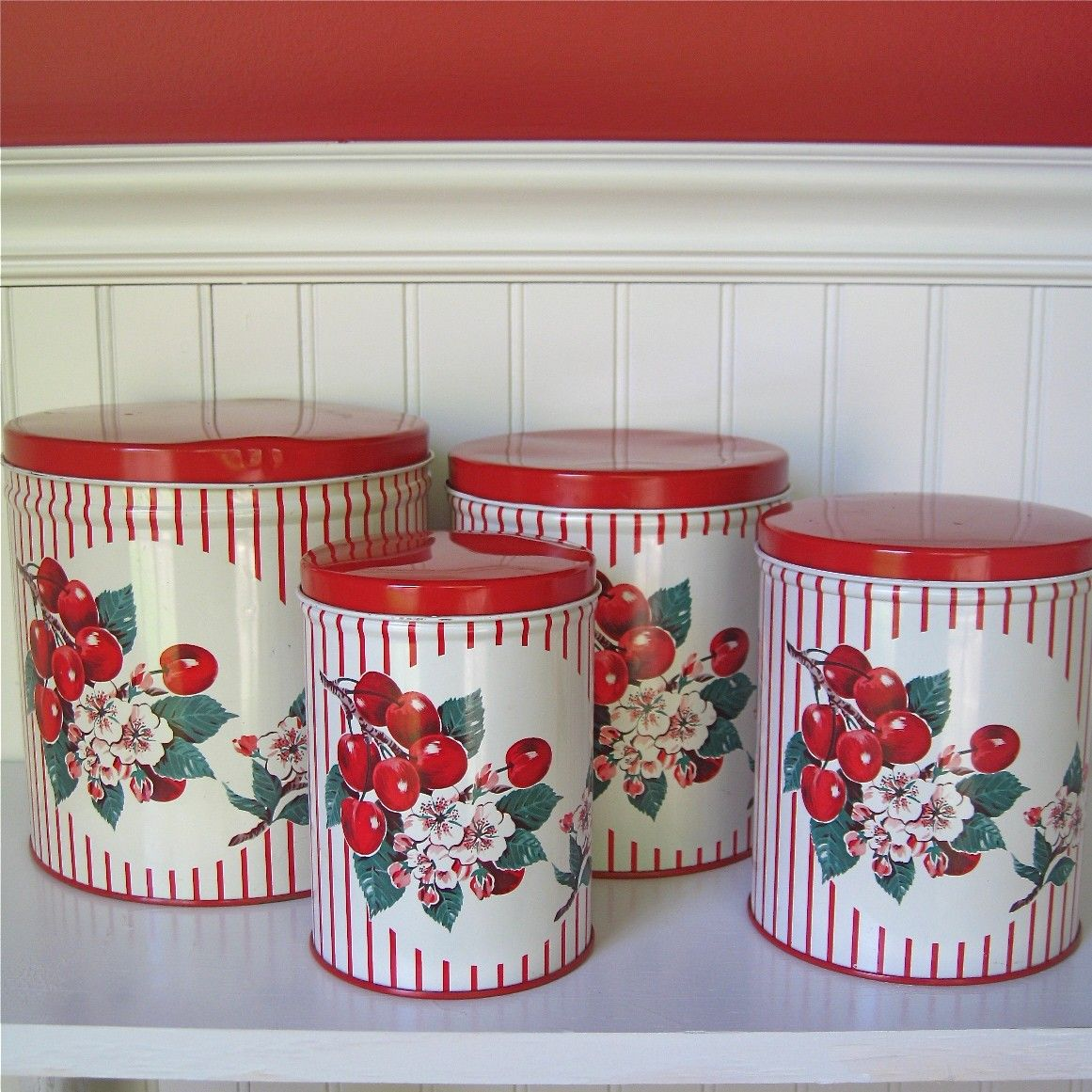 vintage metal kitchen canisters cherries print on stripes