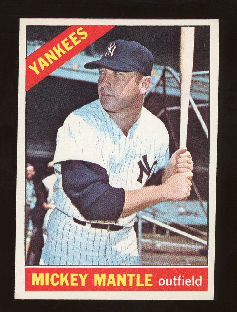 1966 Topps Mickey Mantle Baseball Card New York Yankees Newyorkyankees Yankees Mickey Mantle Old Baseball Cards Baseball Cards