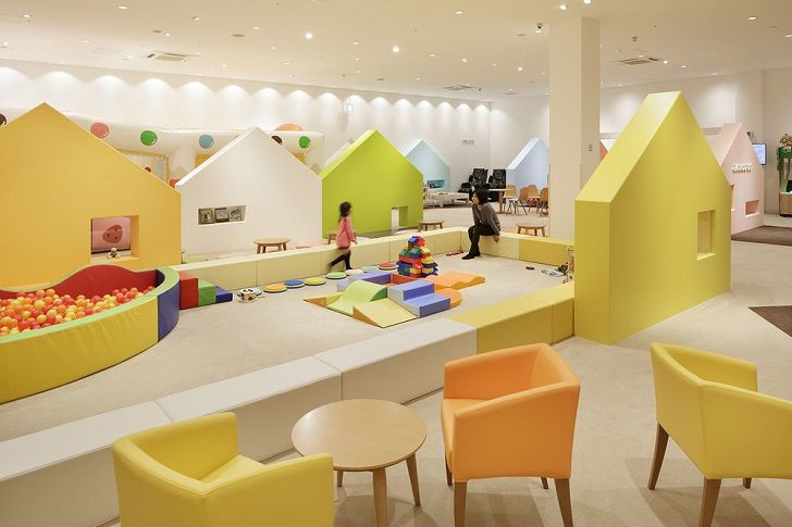 an indoor playground with colourful houses kids rooms