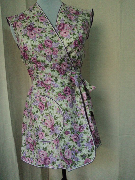 Vintage Apron Wrap Around Style With Pink And Purple