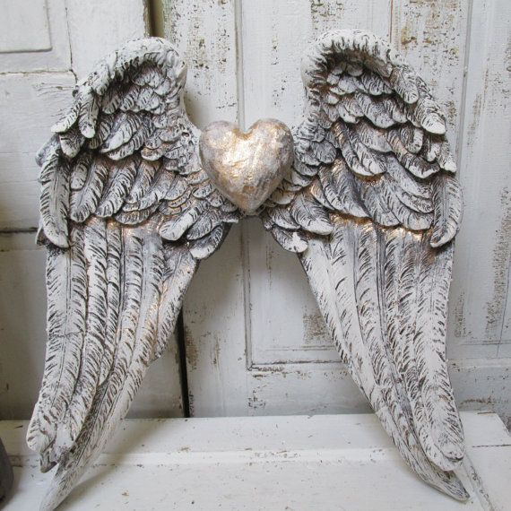 Angel Wings Wall Decor Shabby Cottage White Gray Distressed French Santos  Inspired Gold Accented Sculpture Anita Spero