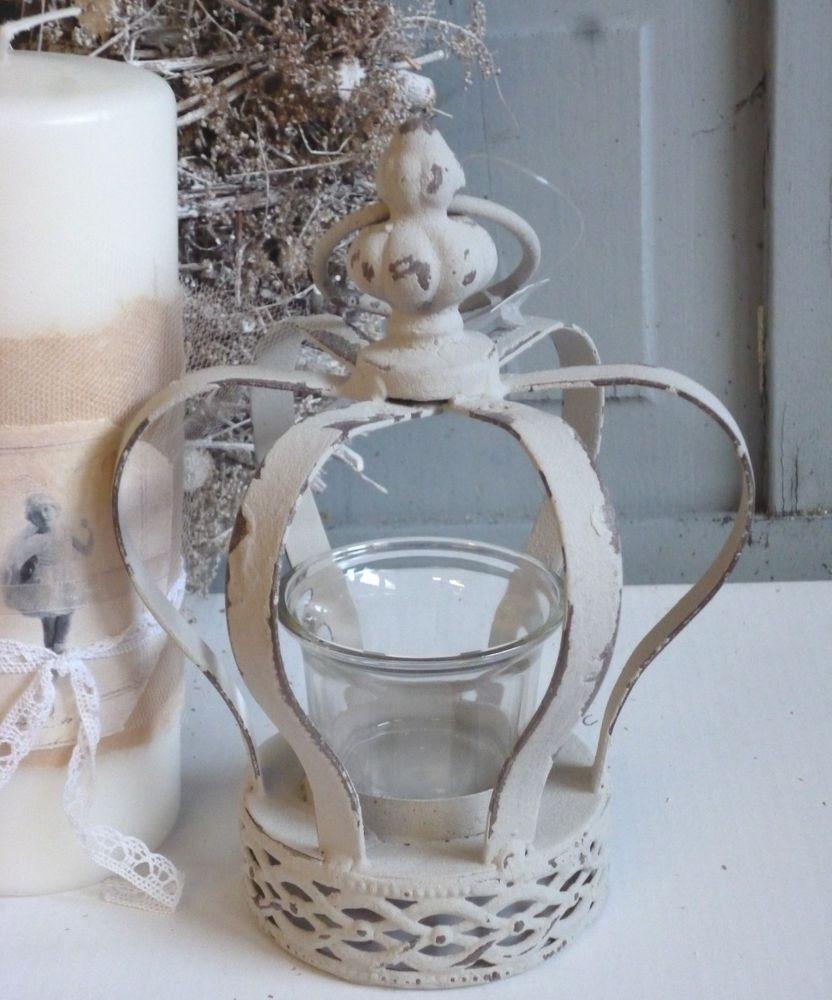 Chic Antique Teelichthalter Krone Crown Shabby French