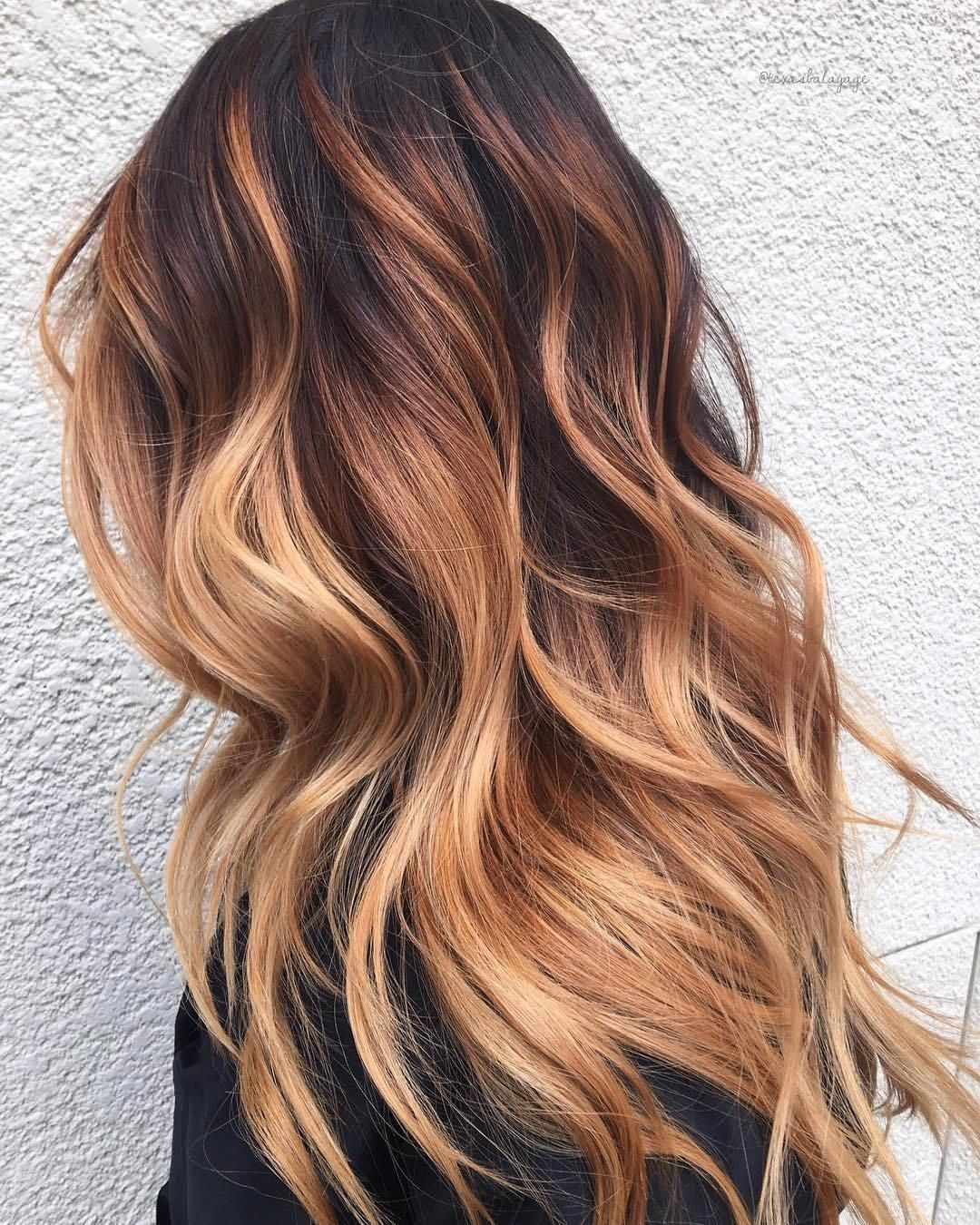 Strawberry Blonde Balayage With Black Roots Dark To Light Hair